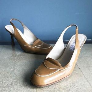 Issac Mizrahi Tan Patent Leather Slingback Heels